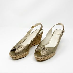 Stuart Weitzman Gold Wedge Sandals Size 7